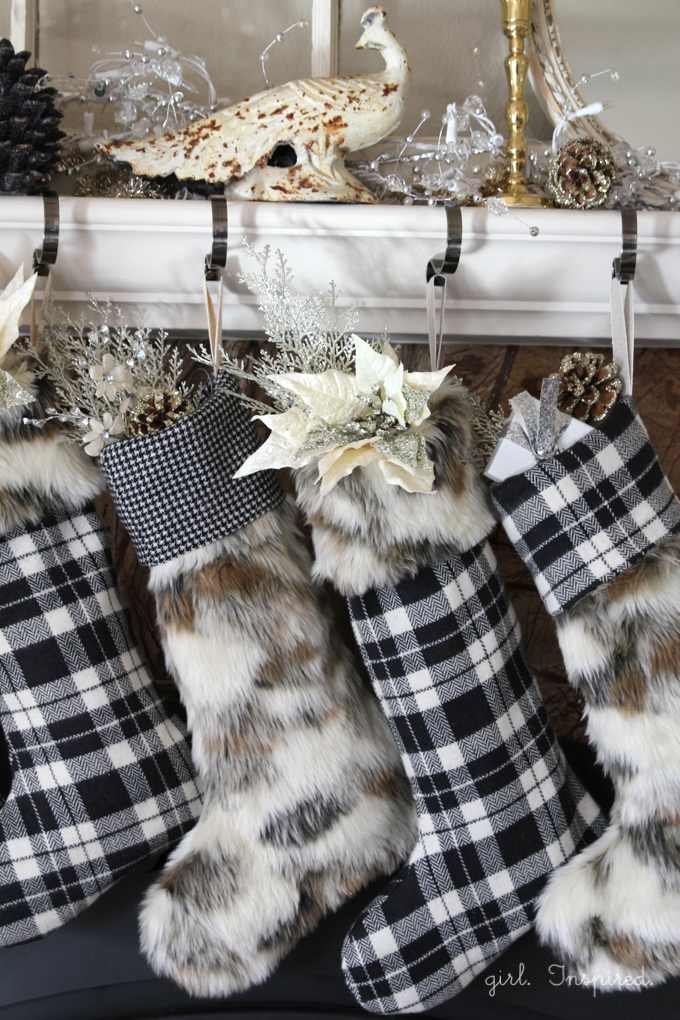 Beautiful fur and flannel holiday stockings