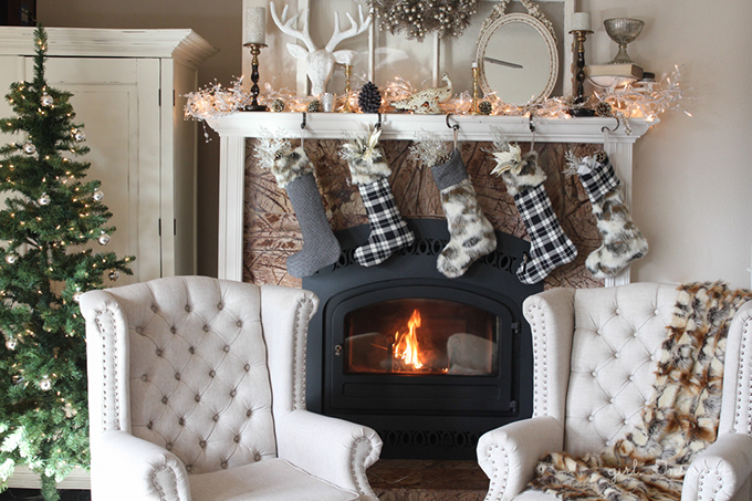 Chic Christmas decor with DIY fur and flannel stockings