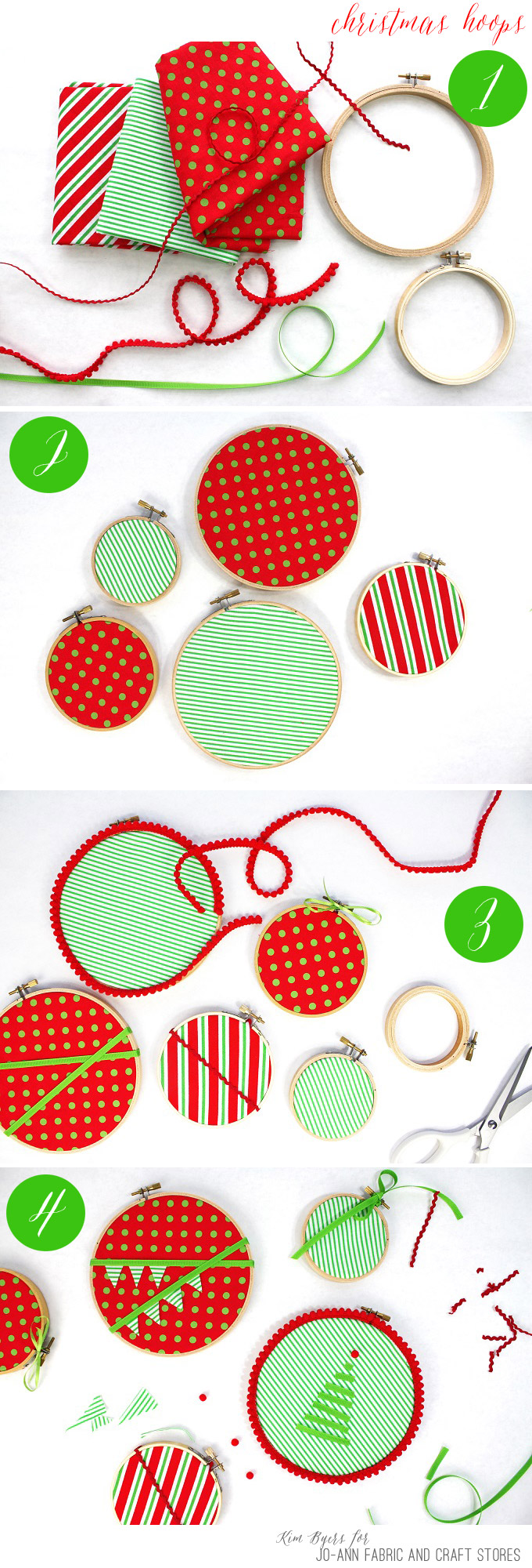 How to make DIY Fabric Hoop Ornaments