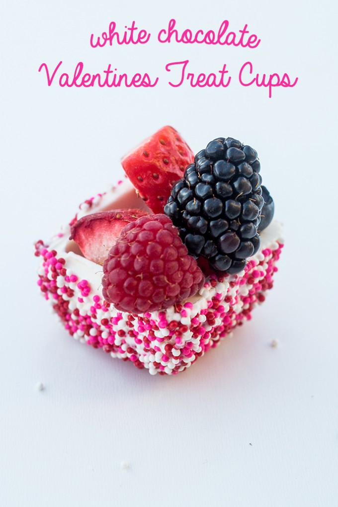 White Chocolate Valentine's Day Sprinkle Treat Cup Recipe