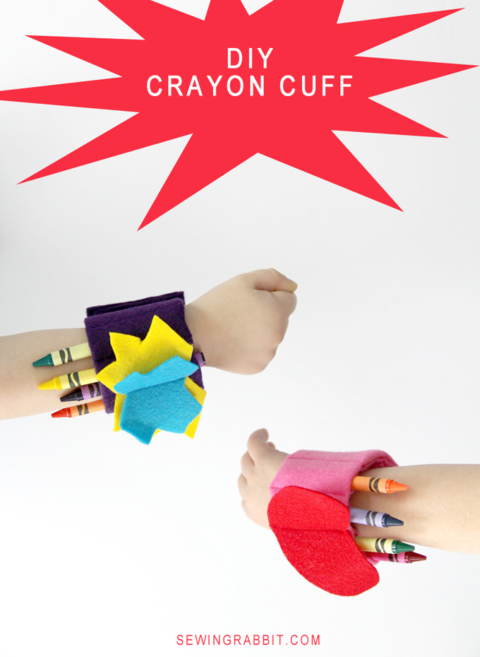 Boy and Girl  DIY Crayon Cuffs by Jess Abbott The Sewing Rabbit