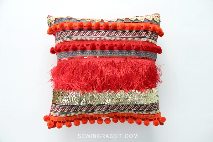 Finished and Complete DIY Fringe Boho Pillow