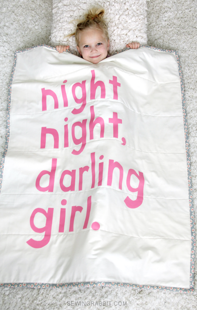 DIY Newborn Gift Idea // Night, Night, Darling Girl Baby Blanket