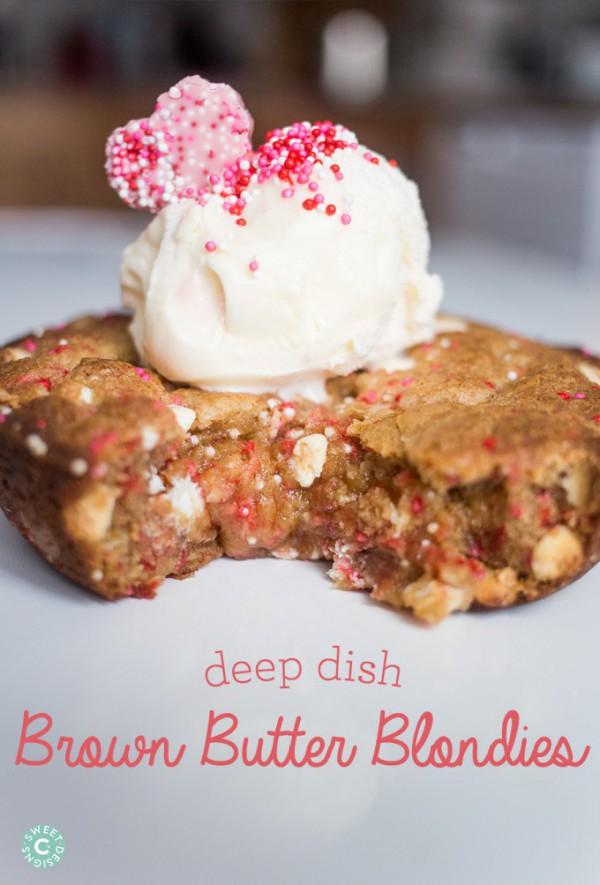 Deep Dish Brown Butter Blondies from Sweet C's Designs