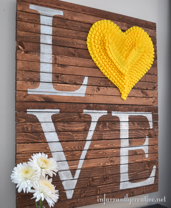 DIY LOVE Pallet Art from Beckie Farrant of Infarrantly Creative
