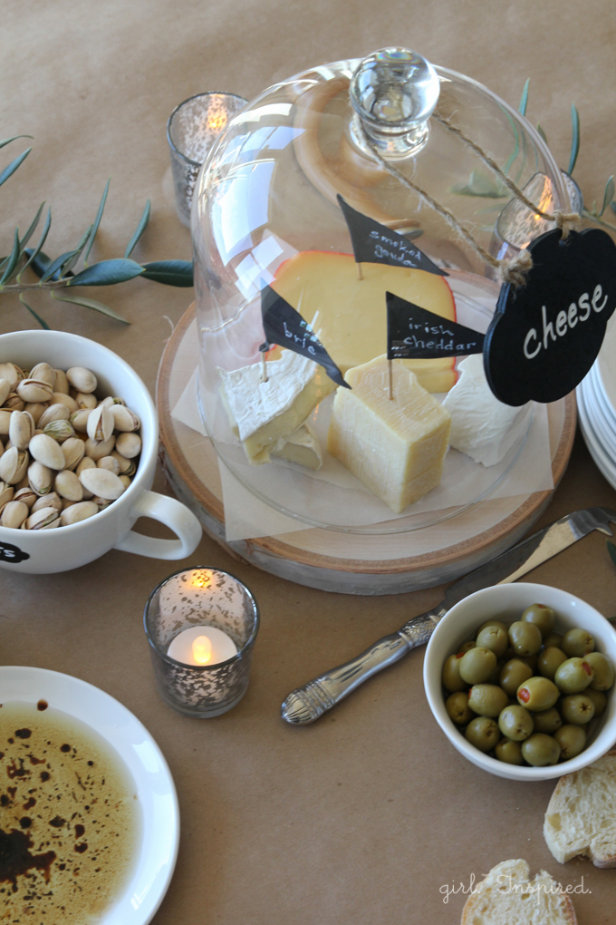 Entertaining Cheese and Bread Spread with Chalkboard Markers