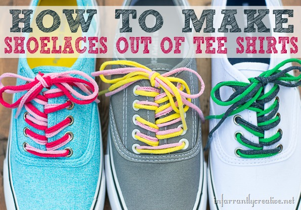 How to Make Shoelaces out of Tee Shirts on InfarrantlyCreative.Net