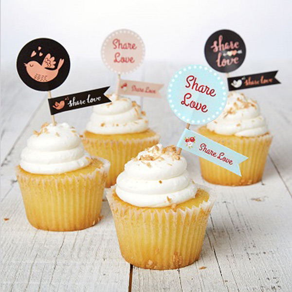 Share Your Love Cupcake Topper Printable