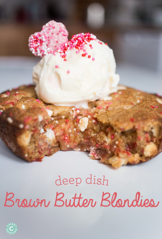 Brown Butter Blondie Recipe with Ice Cream