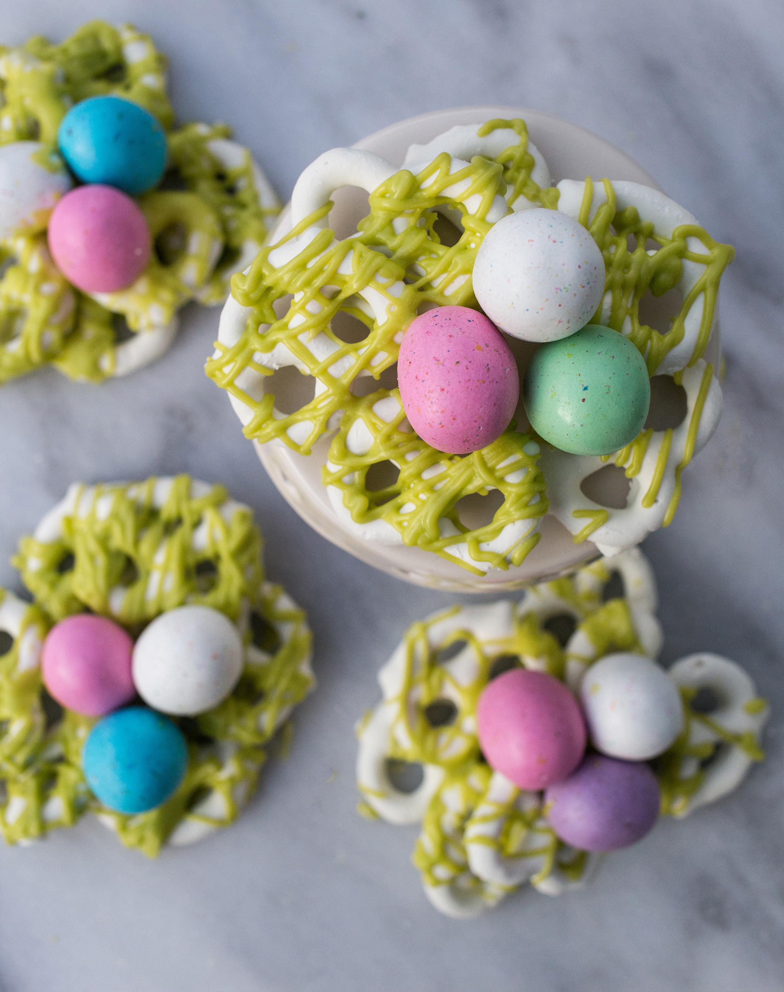 Candy Coated Pretzel Nest Recipe