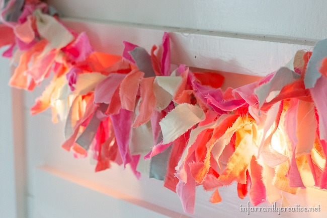 Light up a room with this DIY Easter Rag Garland with Lights
