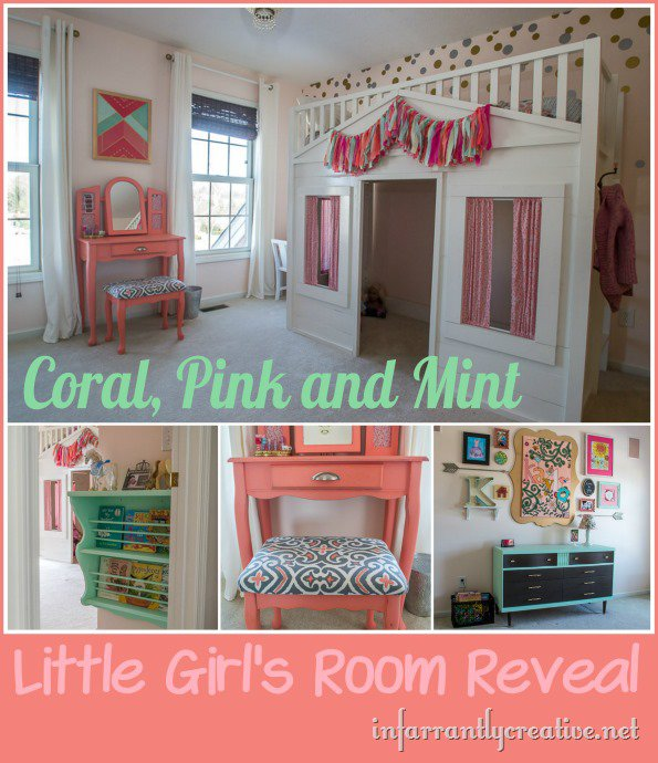 Girl's Coral, Pink and Mint Room Reveal on InfarrantlyCreative.net