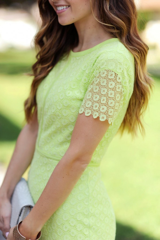 Gorgeous Lime Lace Pencil Dress // Free Sewing Dress Pattern // DIY Easter or Spring Dress