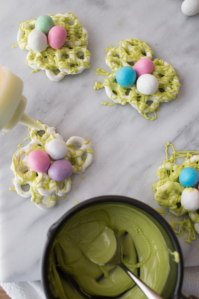 Easter Dessert Recipe // Candy and Pretzel Easter Egg Nests from Sweet C's Designs on Blog.Joann.com