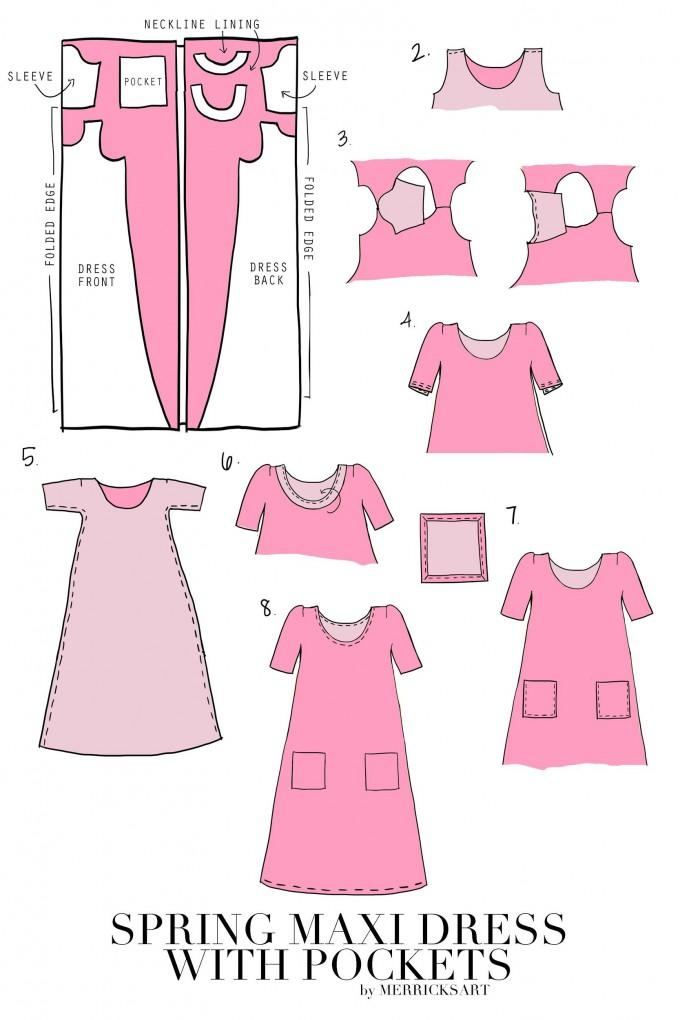 Cute Spring Maxi Dress with Pockets Tutorial from MerricksArt.com