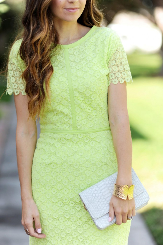 Lime Lace Penccil Dress // Easter or Spring Dress // FREE Sewing Pattern