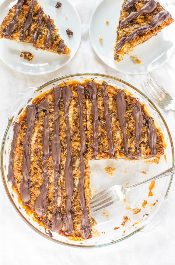 Samoas Cookie Pie Recipe from Averie Cookes // Delicious Pi Day Recipe