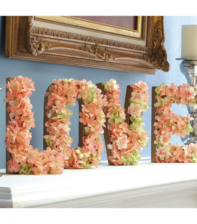 DIY LOVE Block Floral Filled Letters