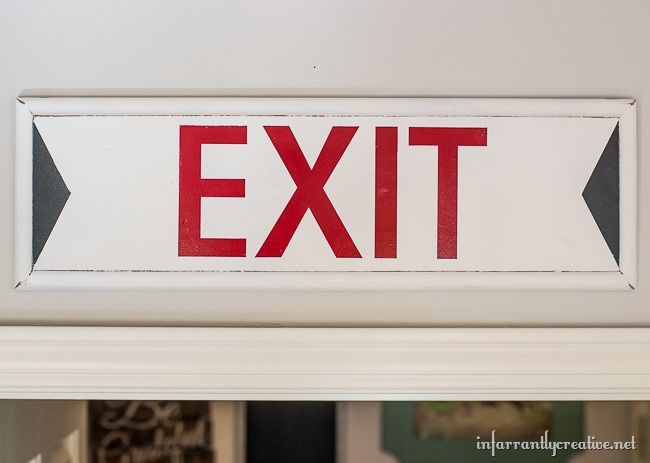 DIY Upcycled Exit Sign