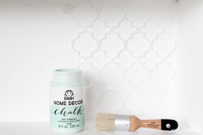 DIY Upcycled Stenciled Desk // Upcycle an old desk in just a few easy steps with Home Decor Chalk Finish Paint from Jo-Ann Fabric and Craft Stores