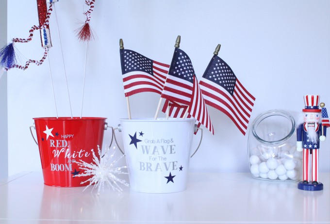 How To Make A 10-Minute Patriotic Wreath + Flag Pails