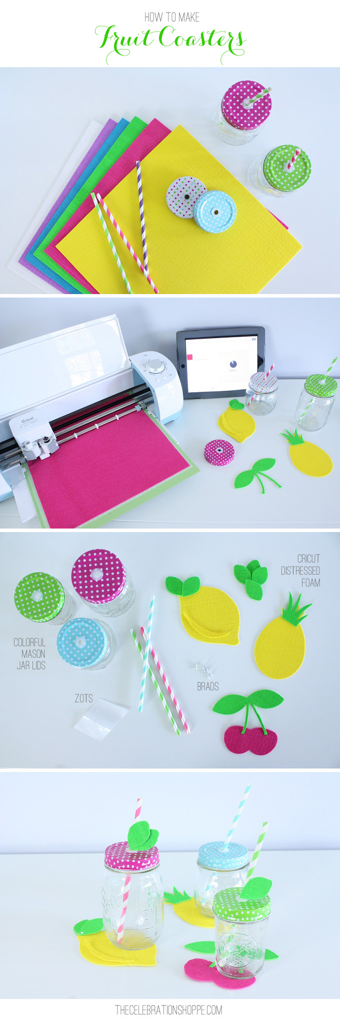 DIY Summer Fruit, Cupcake and Flower Coasters Made with the Cricut Explore Air // Fun Summer Decor // DIY Summer Party Decor with Fun Mason Jars