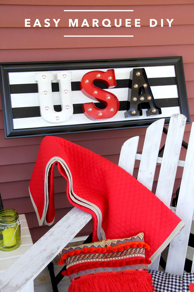 Easy DIY Marquee Letters // Patriotic Decor // Cute 4th of July Summer Decor