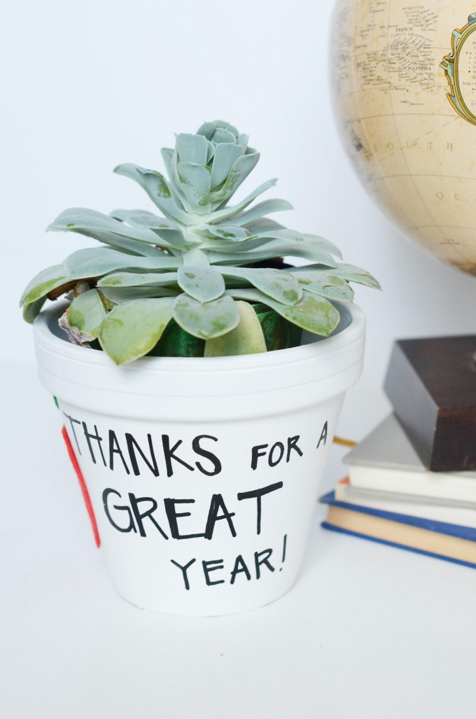 DIY Easy End of School Year Teacher Gift // Cute Teacher Planter Gift to Make with Your Kids