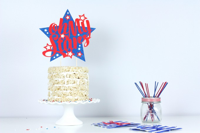 Easy 6-layer Rice Krispies Cake + Oh My Stars Free Printable Cake Topper