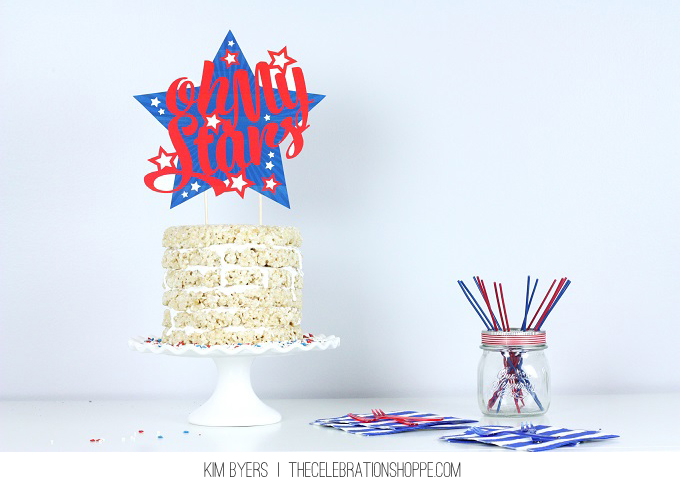 Oh My Stars Patriotic Cake Topper // Cute DIY Cake Topper for 4th of July