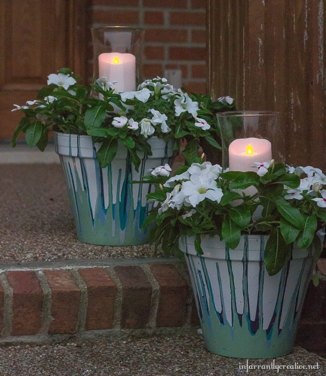 DIY Drip Flower Pots with Candle Votive Holders // Fun Summer Personalized Craft from joann.com/Blog
