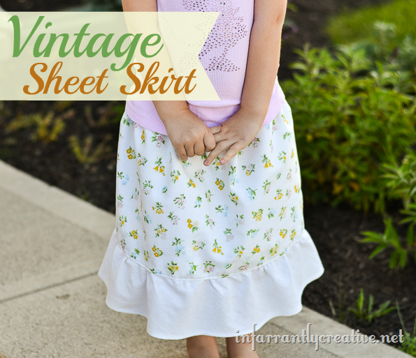 From Sheet to Skirt // Vintage Sheet Skirt from InfarrantlyCreative.net