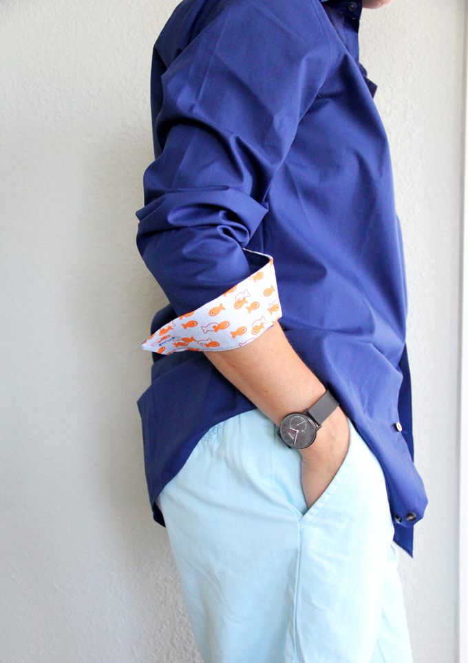 Personalized DIY Father's Day Gift Idea // Fabric Embellished Shirt Cuffs from joann.com/Blog
