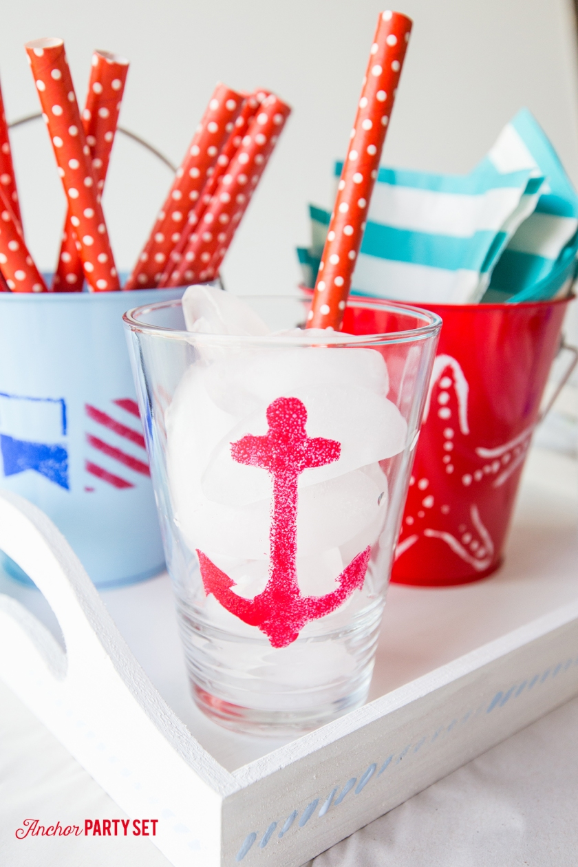 I love this cute stenciled anchor party set!