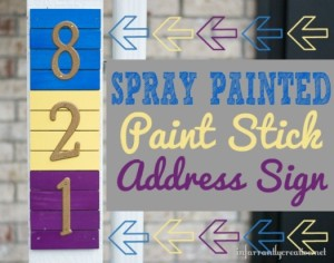 Spray Painted Paint Stick Address Sign