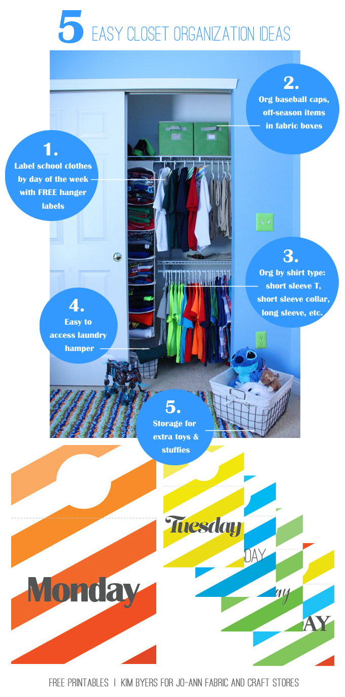 Back To School Closet Organization Ideas & Free Printables