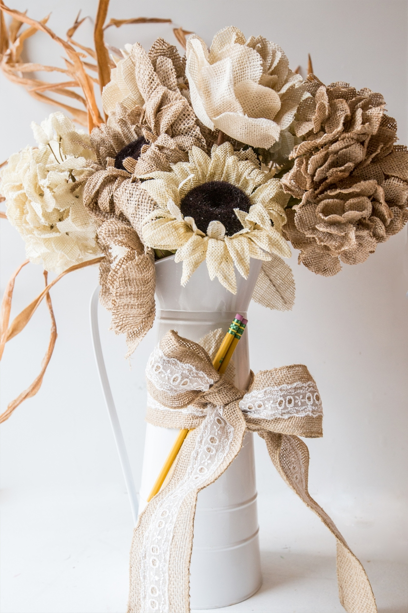 Burlap Bouquet and Love Sign