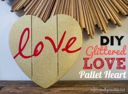 DIY Glitter Love Pallet Heart