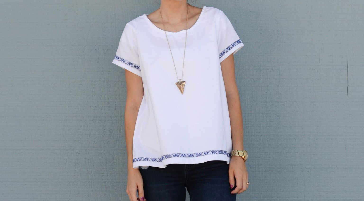 Cotton Swing Tee with Trim