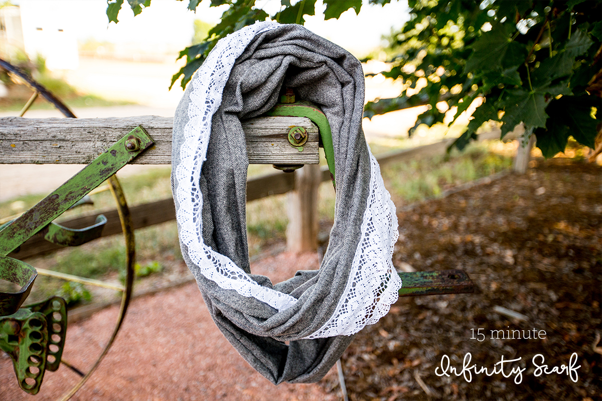 15 Minute Lace Embellished Cotton Infinity Scarf