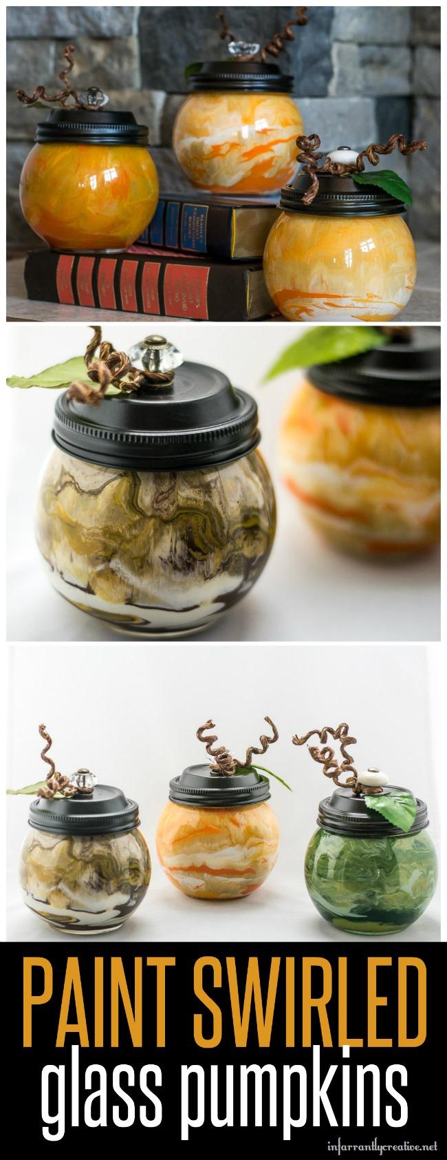 DIY Paint Swirled Glass Pumpkins