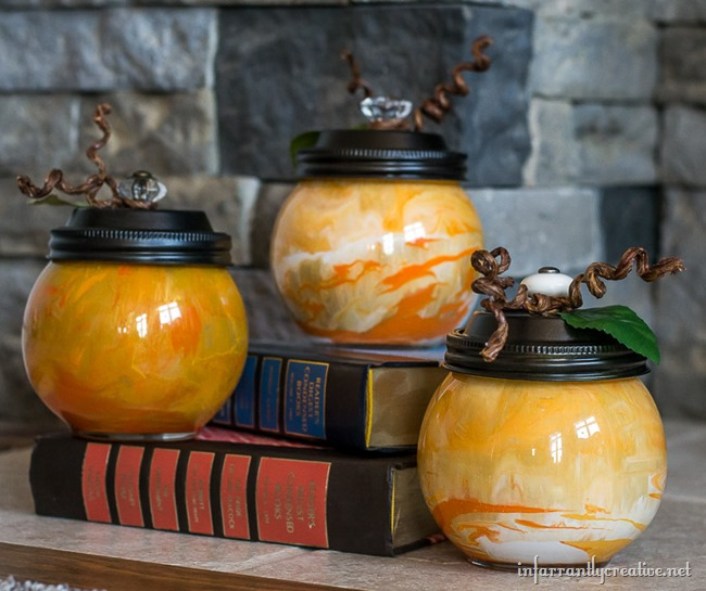 DIY Paint Swirled Glass Pumpkins