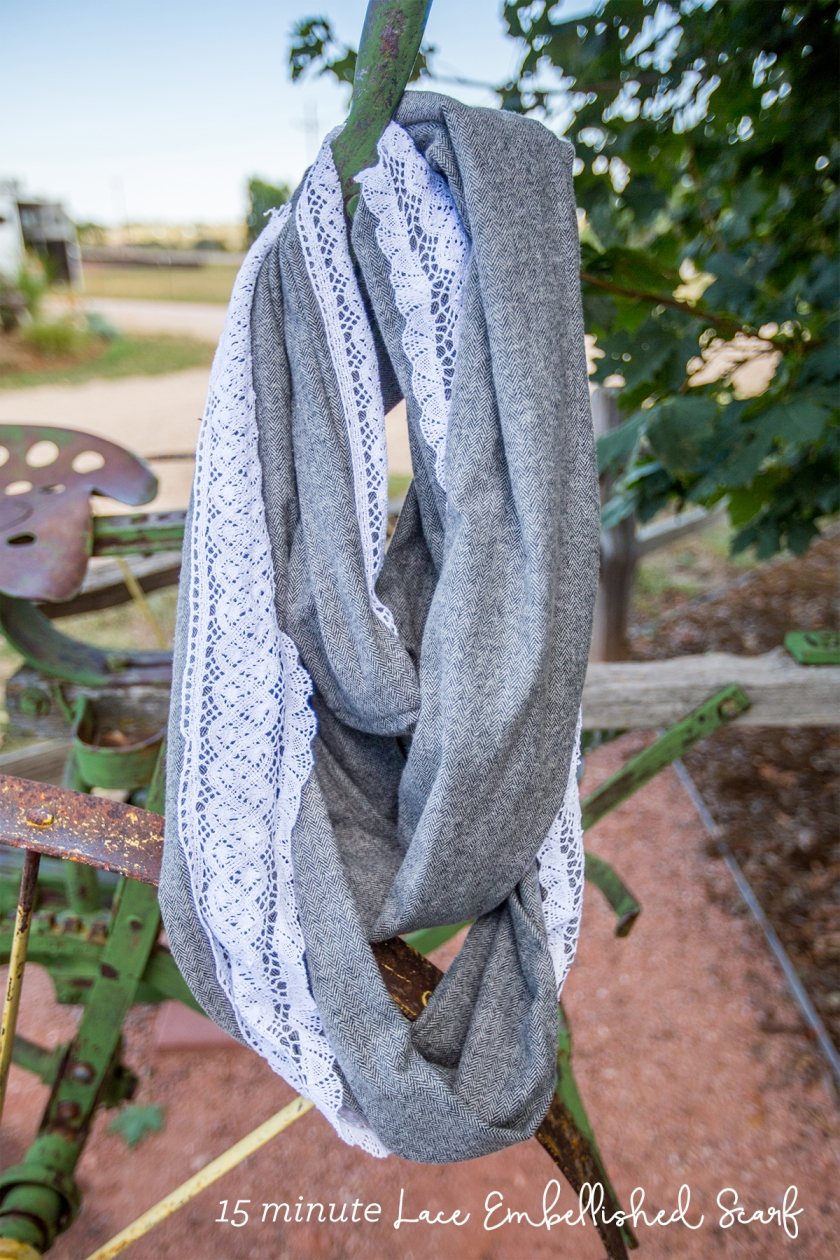 15 minute infinity scarf with lace embellishment