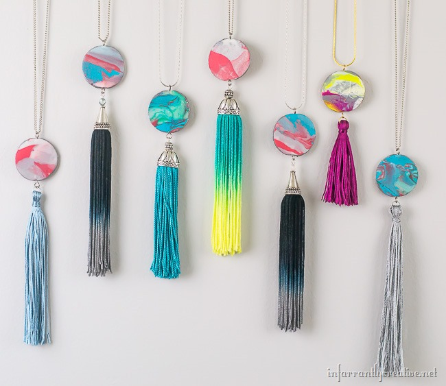 Marble Clay Fringe Necklaces
