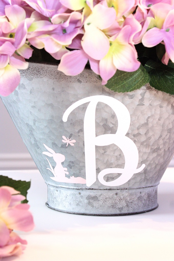 Hydrangea Flower Arrangement With Monogram Galvanized Basket