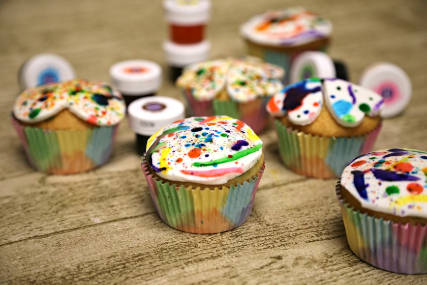 Splatter Painted Cupcakes