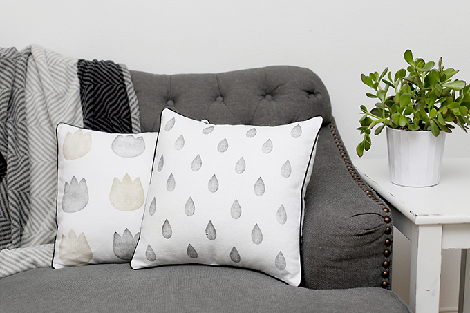 DIY stamped pillow