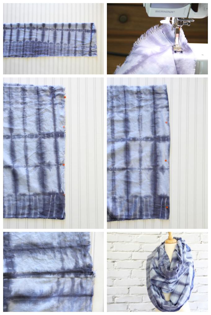 Frayed Tie Dye Infinity Scarf