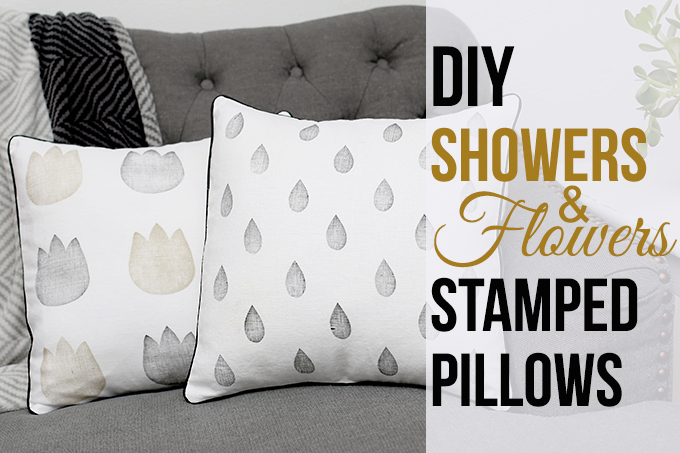 DIY Stamped Showers & Flowers Pillows