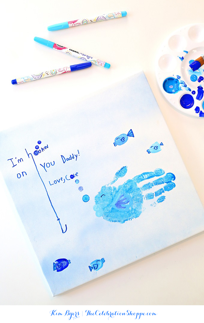 Father's Day Handprint Art – Hooked on You Dad!